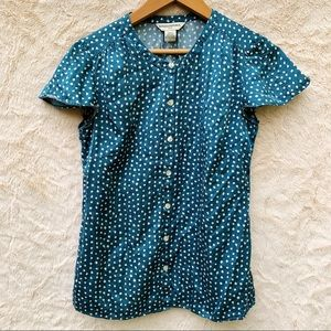 Banana Republic Turquoise Polka Dot Blouse Shirt